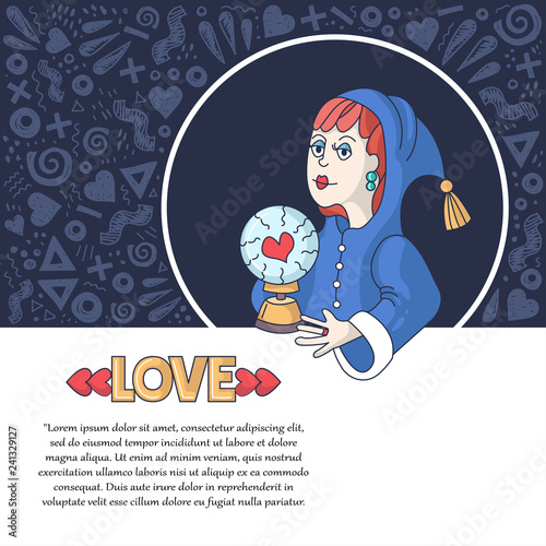 Vector decorative cover with fortune teller and magic ball