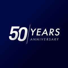 50 years anniversary, since 1969. 50th celebration silver logo, isolated on dark blue background