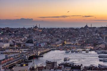 Istanbul, Turkey. 12-November-2018.  Bosphorus river, Galata bridge and Haya Sofia after sunset