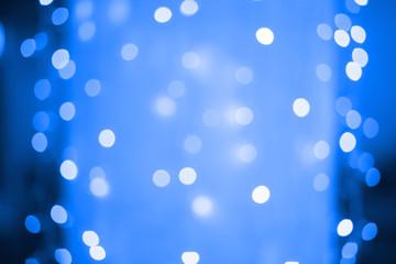 Krasnodar, Russia-December 15, 2018. Blue bokeh. Bright lights of a garland.