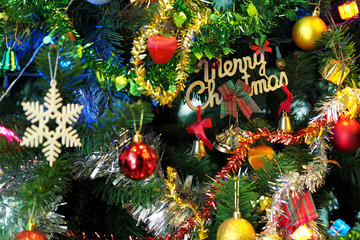 christmas tree with ornaments and lights decoration - images