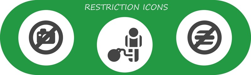 Vector icons pack of 3 filled restriction icons