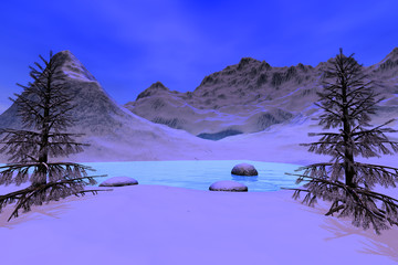 Snowy mountain, a winter landscape, beautiful trees, stones, reflection on the lake and a blue sky.