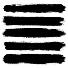 Hand drawn striped pattern. Monochrome horizontal ink brush strokes texture. Stripy background.