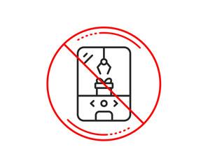 No or stop sign. Crane claw machine line icon. Amusement park sign. Carousels symbol. Caution prohibited ban stop symbol. No  icon design.  Vector