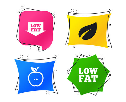 Low fat arrow icons. Diets and vegetarian food signs. Apple with leaf symbol. Geometric colorful tags. Banners with flat icons. Trendy design. Vector