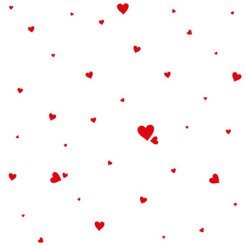 Background of small red hearts creating a chaotic pattern. Vector template for romantic design.