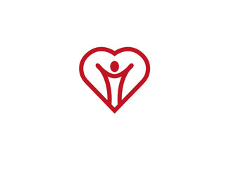 healthy person open hands inside a heart logo Design