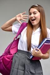 Surprised Colombian School Girl Wearing School Uniform