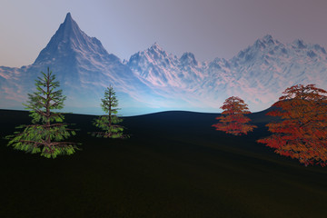 Snowy mountain, an autumn landscape, beautiful trees, grass on the ground and a hazy sky.