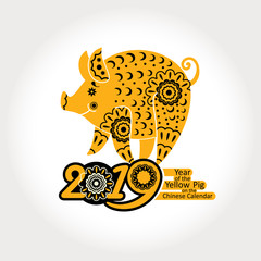 Year of The Yellow Pig. Decorative symbol 2019. Chinese New Year vector pattern with a stylized ornamental pig.