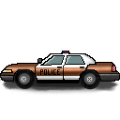 Pixel 8 bit drawn multicolored police cruiser with emergency lights