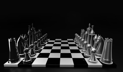 3D Chess board, and Chess Pieces (3D Rendering)