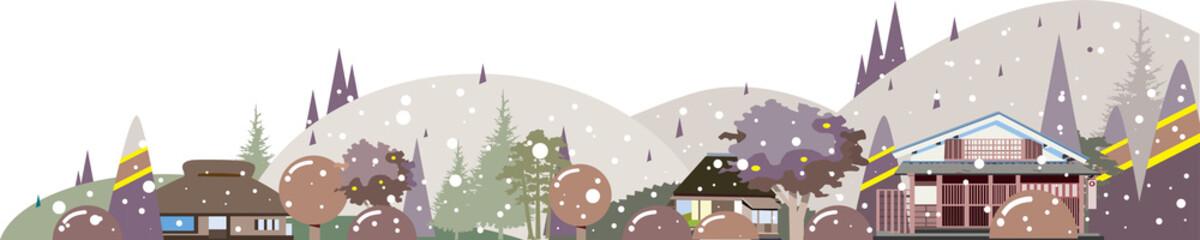 日本の田舎の冬の背景