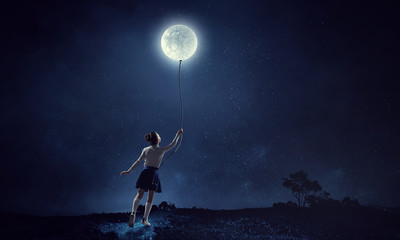 Girl holds the moon . Mixed media