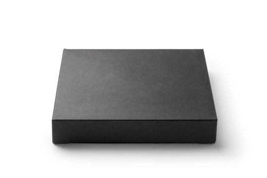 Black paper box isolated on white background