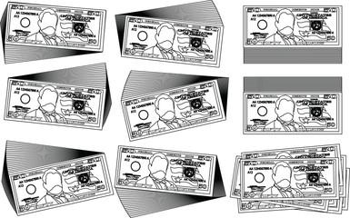 Bunch of 50 US dollar banknote outline set
