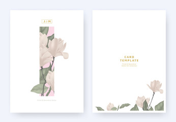 Minimalist floral invitation card template design, pink magnolia and leaves in pink rectangle on white background, pastel theme