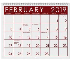 2019: Calendar: Month Of February