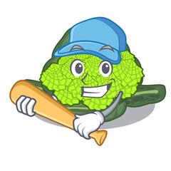 Playing baseball roman cauliflower in the shape cartoon