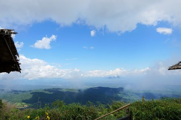 Beautiful landscape on mountain with sky and cloud, peace and relaxation, Beautiful nature to make our mind calm, Mist and green mountains in the background, copy space, Doi Chiang Dao at Thailand