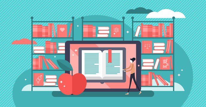 Online books flat vector illustration. Tiny persons mobile library concept.