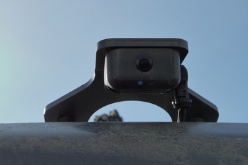 Rear view camera of a modern excavator.