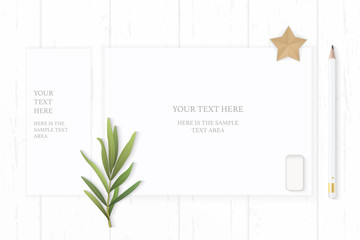 Flat lay top view elegant white composition paper pencil eraser tarragon leaf and star shape craft on wooden background