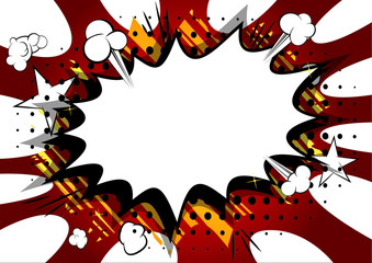 Vector illustrated retro comic book background with big blank explosion bubble, pop art vintage style backdrop.