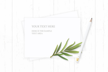 Flat lay top view elegant white composition paper nature tarragon leaf and pencil on wooden background