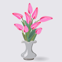 a bouquet of nine pink tulips in a small white vase