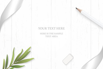 Flat lay top view elegant white composition silver ribbon pencil tarragon leaf and eraser on wooden floor background
