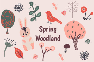 Spring woodland clip art.
