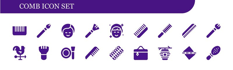 Vector icons pack of 18 filled comb icons