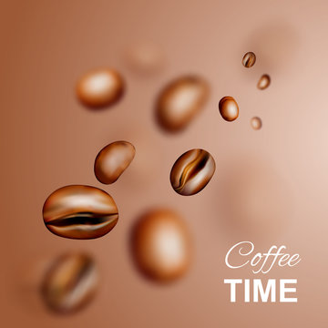 Flying Coffee Beans Vector 3d Background or Pattern
