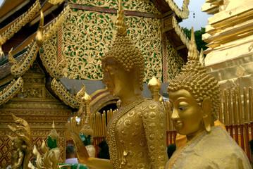 Golden Buddha statues at Wat Phra That Doi Suthep, Chiang Mai, Thailand