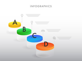 3D infographic layout with four different steps for business or corporate sector.