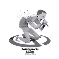 Fototapeta Chester Bennington. Vocalist of Linkin Park band. character design, USA/2018 - vector obraz