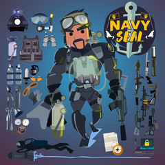 Navy seal soldier with gear, weapon and equipment set. logotype - vector