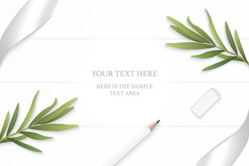 Flat lay top view elegant white composition silver ribbon pencil eraser tarragon leaf on wooden floor background