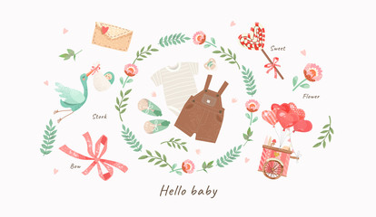 cute illustration of baby clothes for a newborn: slip, romper, booties, nipple in a flower frame, vector isolated objects for congratulations on a newborn