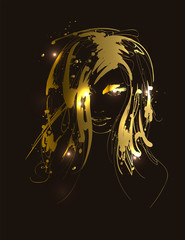 Vector illustration of golden woman face. Fashion girls face. Woman face.