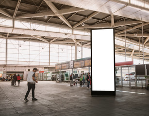 Mock up Vertical Banner Billboard stand Media advertising at Train station with Traveling people