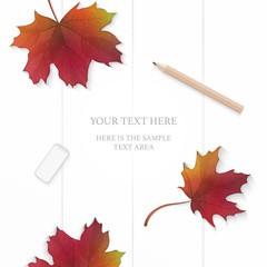 Flat lay top view elegant white composition paper red autumn maple leaf and pencil eraser on wooden background