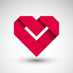 Obraz serce origami logo wektor - fototapety do salonu