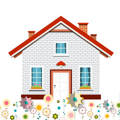 Family House with Flowers Vector Design