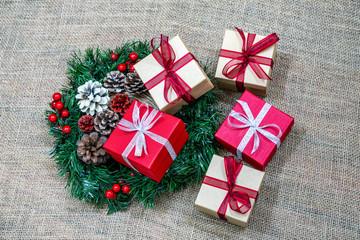 Christmas gifts and Christmas wreath