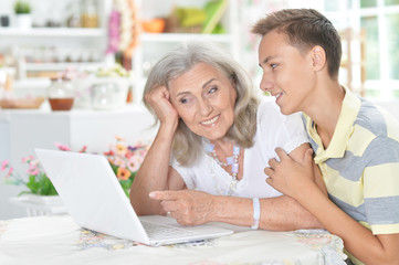 Portrait of grandson and grandmother using laptop