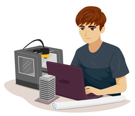 Teen Boy Civil Engineer Print 3D Illustration