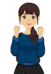Teen Girl Fighting Hand Pose Illustration